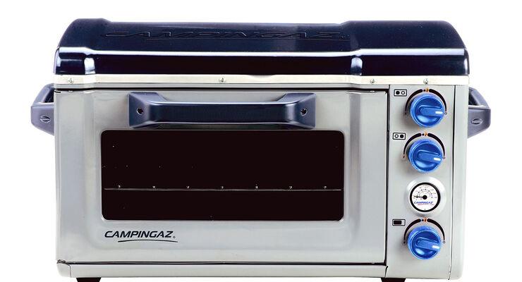 Der Camp Stove Oven ist ein kleiner Küchenherd. Er besteht aus einen Zweiflammenkocher und integriertem Backofen.