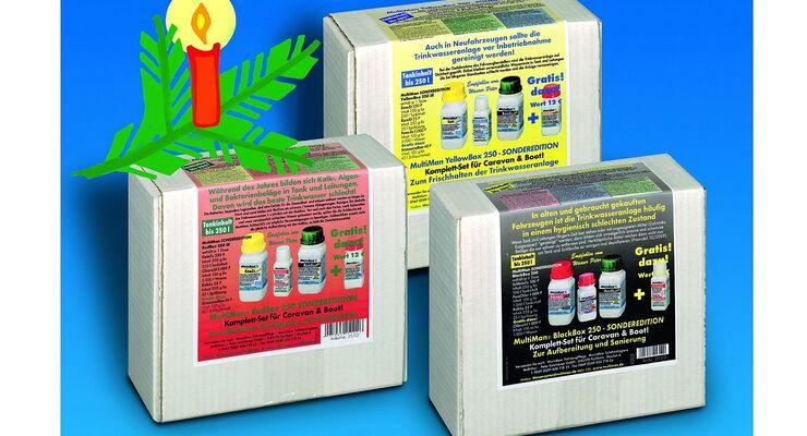 Die Multiman WeihnachtsBox enthält Trinkwasser-Reinigungsmittel aus der MultiBox – mit einem Preisvorteil von 30 Prozent.