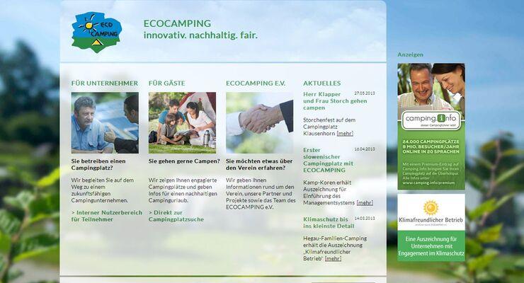 Die Online-Plattform www.ecocamping.net erhält ein neues Gesicht und neue Funktionen für Gäste und Campingunternehmen.