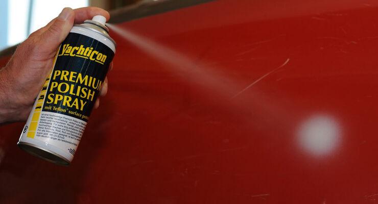 """Die Politur """"Premium Polish"""" von Yachticon zur Bearbeitung von glatten Flächen gibt es jetzt auch als Spray. Es schützt durch Versiegelung vor Schmutz, Rost, Staubpartikel und Salzablagerungen."""