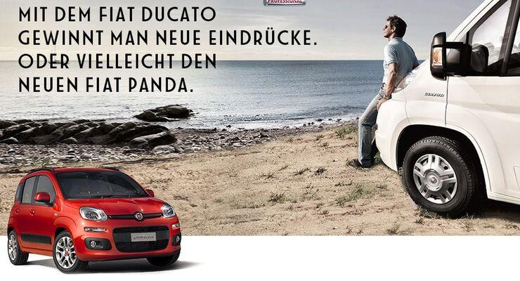 Fiat Professional verlost einen Fiat Panda sowie 2000 Eintrittskarten für den Caravan Salon in Düsseldorf.