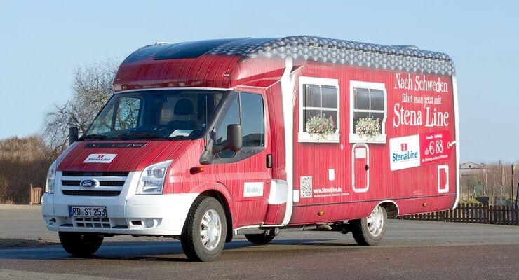 Für eine Marketing-Kampagne wurde ein Hobby Siesta in ein rollendes Schwedenhaus verwandelt.
