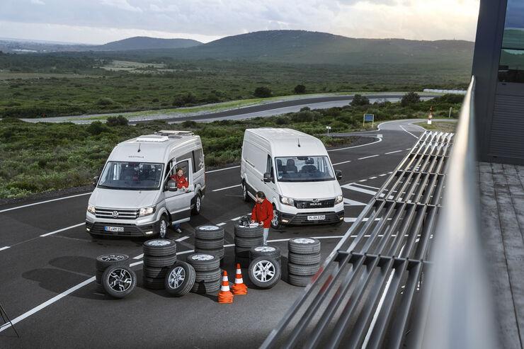 Somerreifentest, VW Crafter, MAN TGE-Kastenwagen