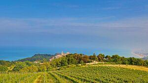 Unten ein Blick auf den schönen Ort Sirolo im Naturpark Conero.
