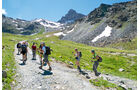 Wanderweg GR 58 bietet eine famose Sicht auf die berühmte Spitze der Tête des Toillies im Hintergrund.